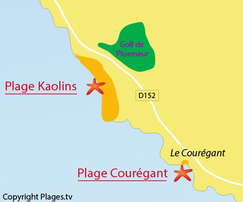 Map of Courégant Beach in Ploemeur