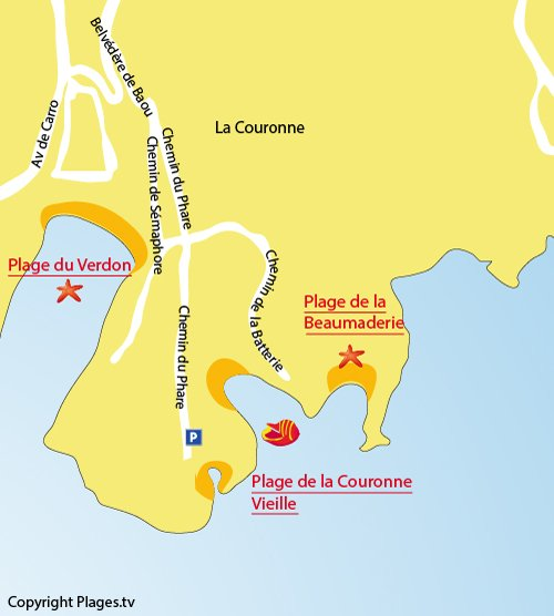 Map of Couronne Vieille Beach in Martigues