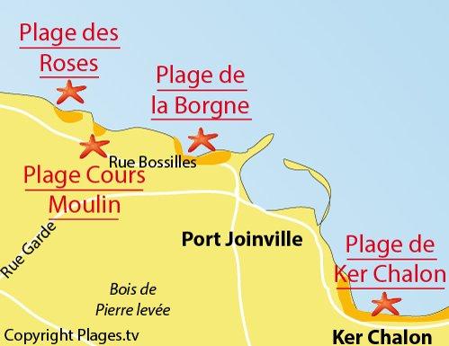 Plan de la plage du Cours Moulin de l'ile d'Yeu