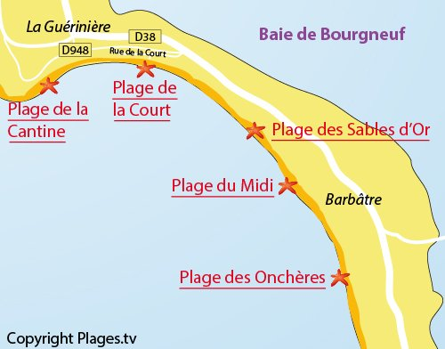 Map of the Court Beach - Noirmoutier