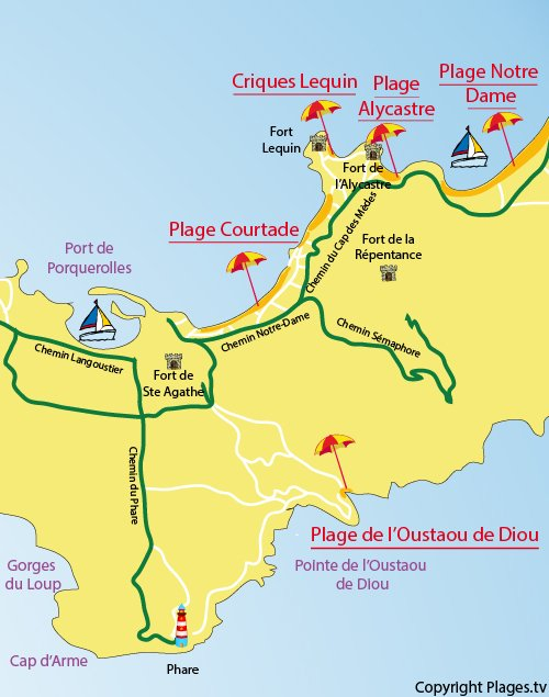 Map of Courtade beach in Porquerolles in France