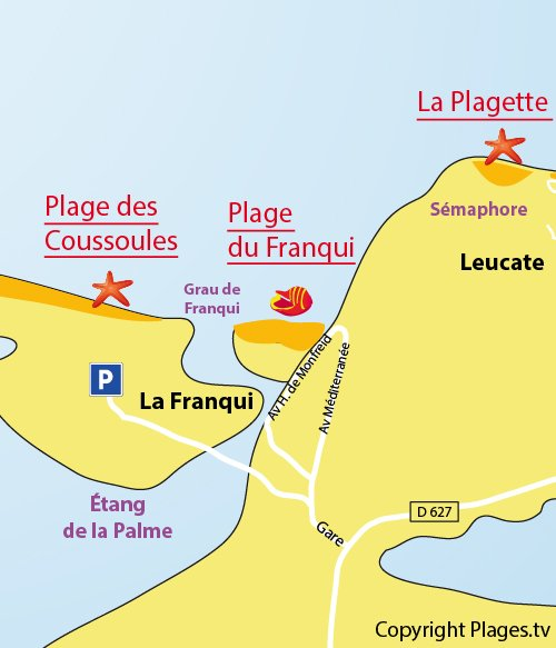 Map of Coussoules Beach in Leucate