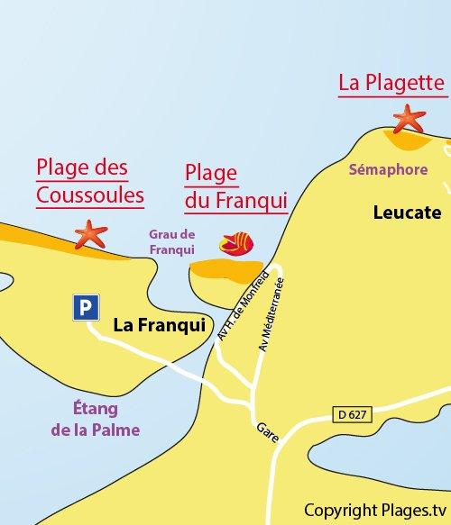 Carte de la plage des Coussoules à La Franqui - Leucate