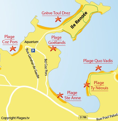 Map of Coz Pors Beach in Trégastel