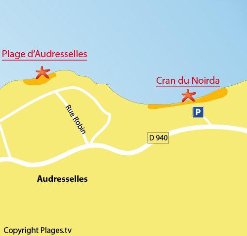Plan pour la plage dans le cran du Noirda à Audresselles