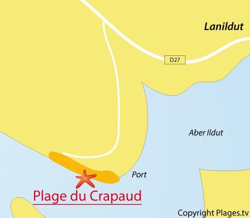 Carte de la plage du Crapaud à Lanildut