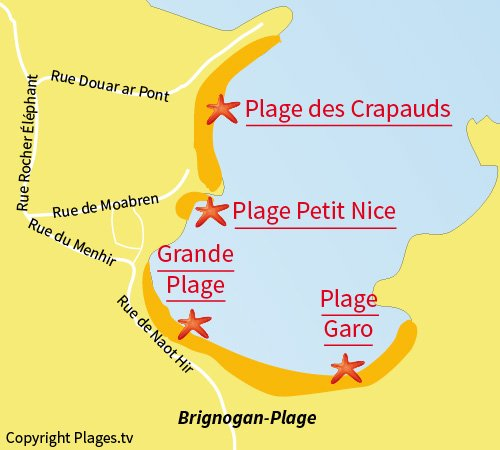 Map of Crapauds Beach in Brignogan
