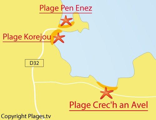 Carte de la plage de Crech an Avel à Plouguerneau
