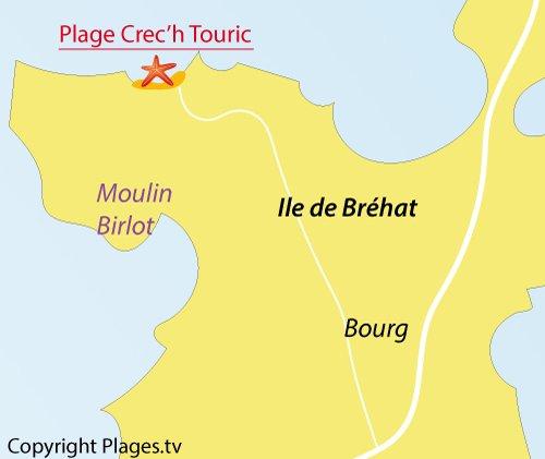 Carte de la plage de Crec'h Touric à Bréhat