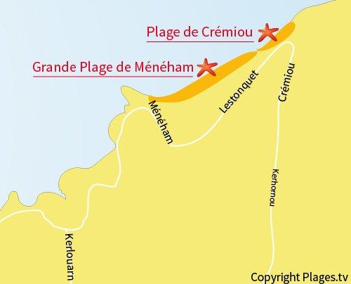 Carte de la plage de Crémiou à Kerlouan