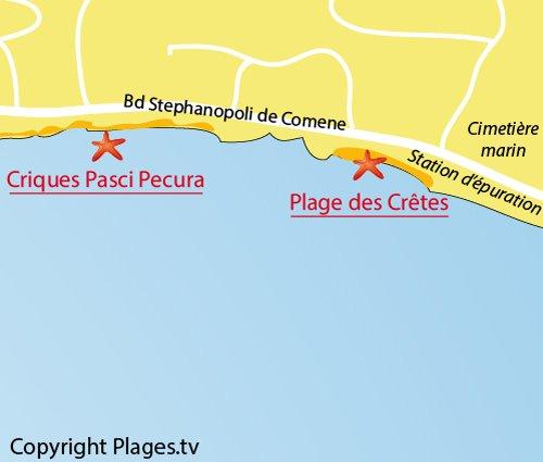 Carte de la plage des Crêtes à Ajaccio