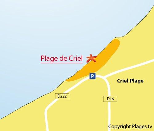 Map of Criel sur Mer beach