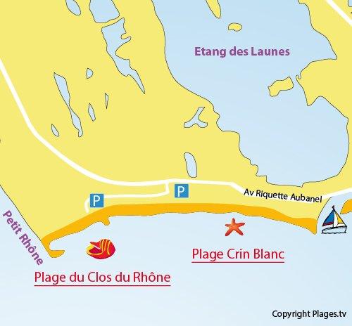 Map of the Crin Blanc beach - Saintes Maries de la Mer