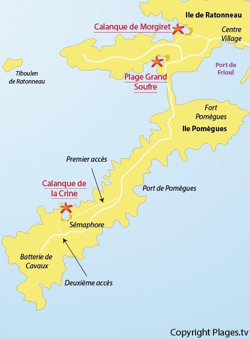 Plan de la calanque de la Crine sur les iles de Frioul