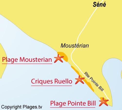 Carte de la plage du Ruello - Séné