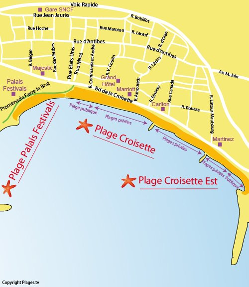 Map of the Croisette Beach in Cannes