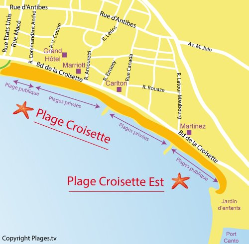 Map of Croisette Est Beach in Cannes
