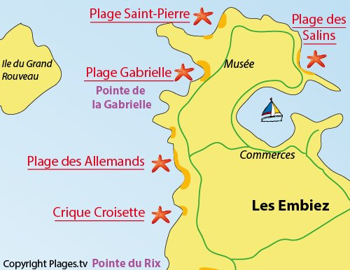 Map of Croisette Cove - Ile des Embiez