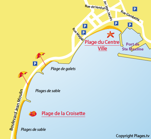 Map of Croisette Beach in Sainte Maxime