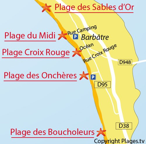 Map of Croix Rouge Beach in Noirmoutier
