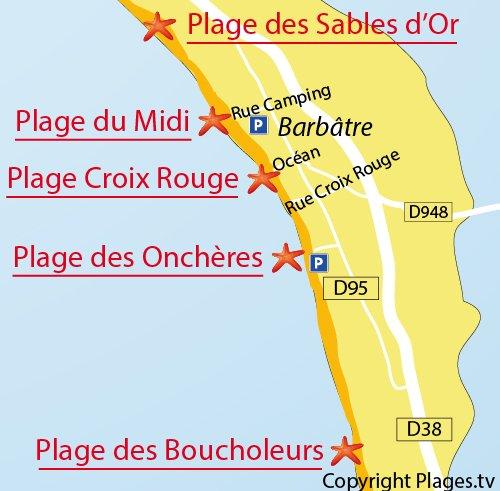 Plan de la plage de la Croix Rouge à Noirmoutier