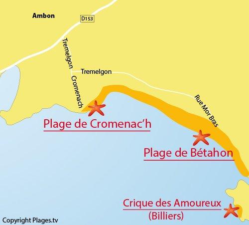 Carte de la plage de Cromenac'h à Ambon