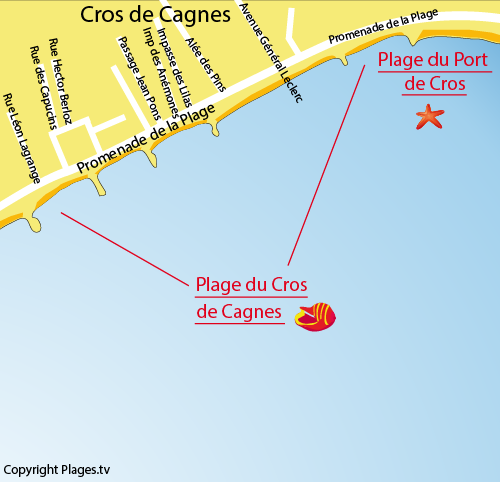 Map of Cros Beach in Cagnes sur Mer