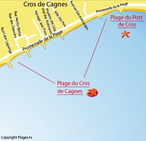 Mappa della Spiaggia di Le Cros de Cagnes