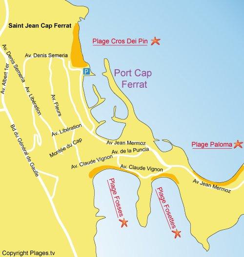 Carte de la plage du Cros Dei Pin au Cap Ferrat