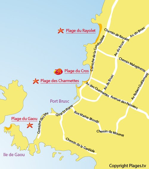 Map of Cros Beach in Six Fours les Plages