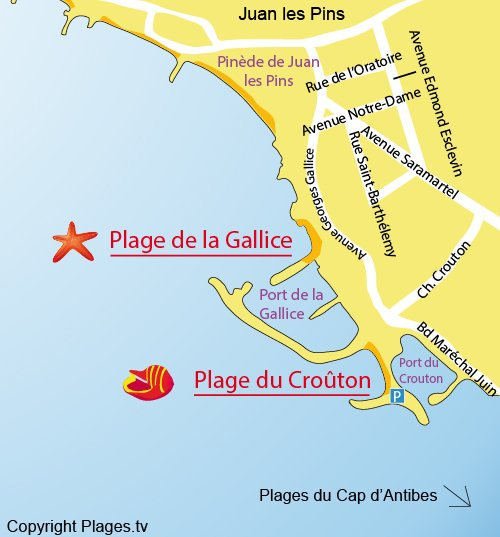 Map of the Crouton Beach in Juan les Pins
