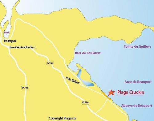 Plan de la plage du Cruckin à Paimpol