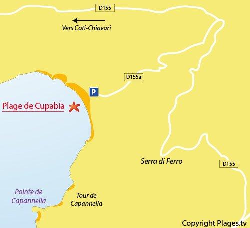 Carte de la plage de Cupabia en Corse