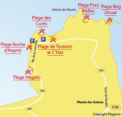 Carte de la plage des Curés de Plestin les Grèves