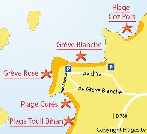 Map of Cures Beach in Trégastel