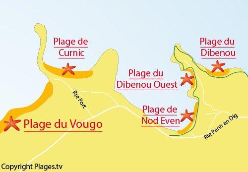 Carte de la plage de Curnic à Guisseny