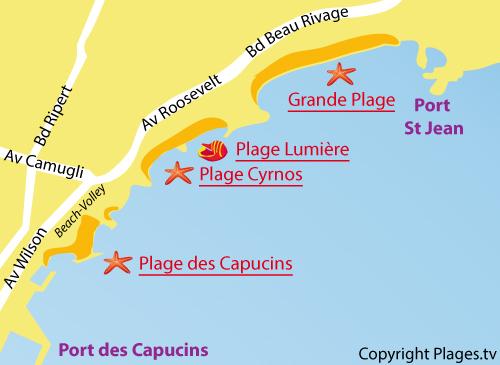 Plan de la plage de Cyrnos à La Ciotat