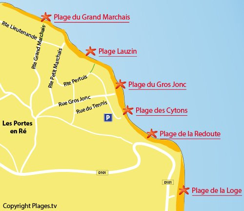 Map of Cytons Beach in Les Portes en Ré - France