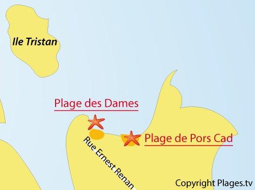 Mappa della Spiaggia Les Dames - Douarnenez