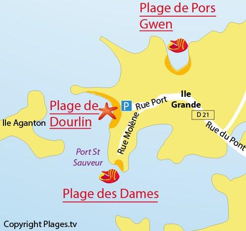 Carte de la plage aux Dames de l'ile grande - Pleumeur Bodou