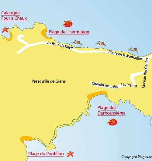Map of Darboussières Beach in Hyeres
