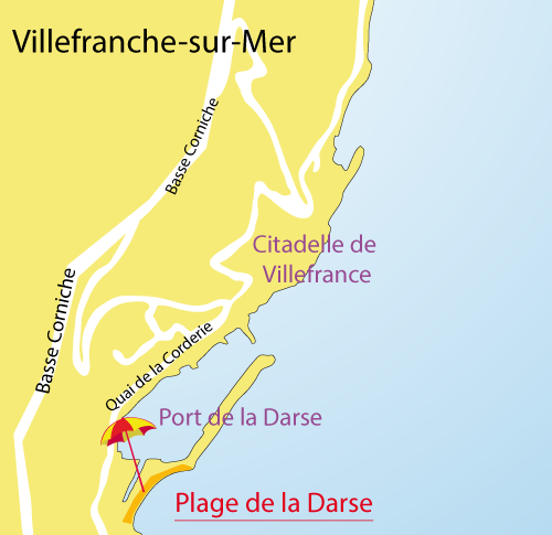 Map of the Darse Beach in Villefranche sur Mer