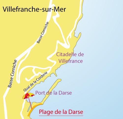 Carte de la plage de la Darse à Villefranche sur Mer