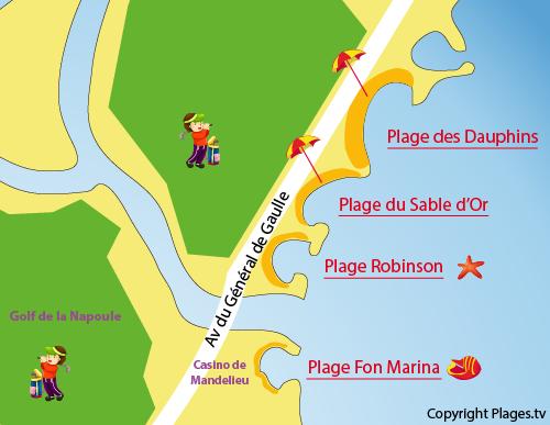 Carte de la plage des Dauphins à Mandelieu