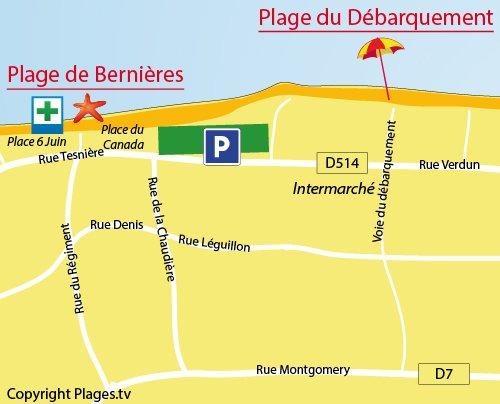 Carte de la plage du Débarquement de Bernières sur Mer