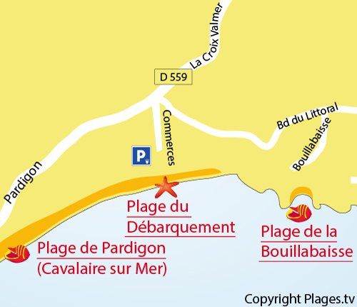 Map of the Débarquement Beach in La Croix Valmer