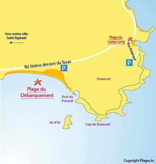 Map of Debarquement Beach in St Raphael