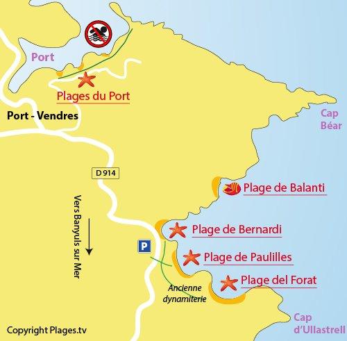 Map of Fourat Beach in Port Vendrès (France)