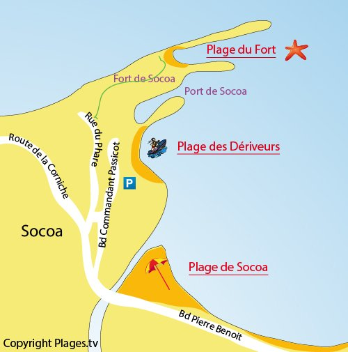 Map of Dériveurs Beach in Socoa