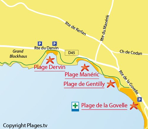 Map of Dervin Beach in Batz sur Mer